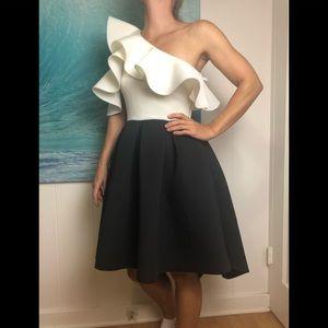 ASOS white black ruffle one shoulder scuba dress